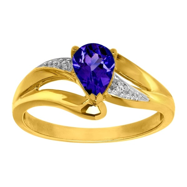 1 ct Ceylon Sapphire Ring with Diamond in 10K Gold