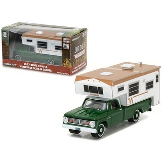1967 Dodge D-100 Green with Winnebago Slide in Camper Hobby Exclusive 1/64 Diecast Model Car by Greenlight