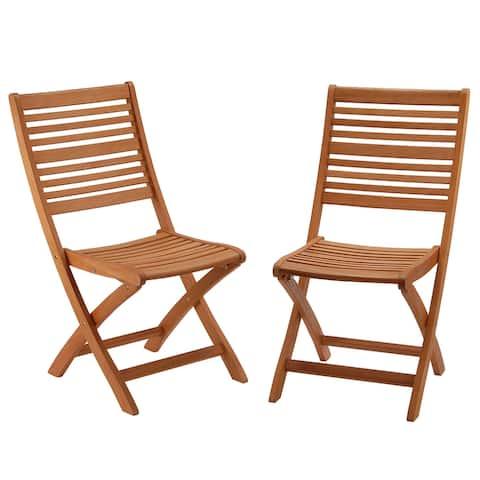 Eucalyptus Grandis Wood Folding Chair, Set of 2 - N/A