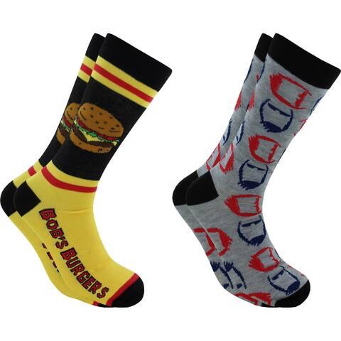 Hyp Bob's Burger Faces Men's Crew Socks 2 Pair Pack Shoe Size 6-12