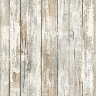 "RoomMates RMK9050WP 20-1/2"" x 198"" - Distressed Wood - Self Adhesive Vinyl Film - 28.18 Sq. Ft."