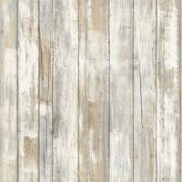 "RoomMates RMK9050WP 20-1/2"" x 198"" - Distressed Wood - Self Adhesive Vinyl Film - 28.18 Sq. Ft."
