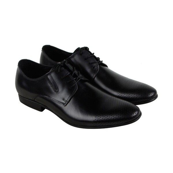 Kenneth Cole New York Mix Ed Media Mens Black Leather Casual Dress Oxfords Shoes