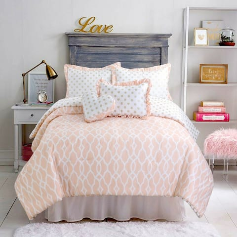 Cozy Line Peach Heart Polka Dot Reversible Comforter Set
