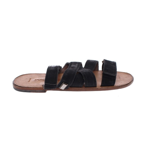 f244e75012c97 Shop Dolce   Gabbana Black Leather Strap Slides Sandals Shoes - eu39 ...