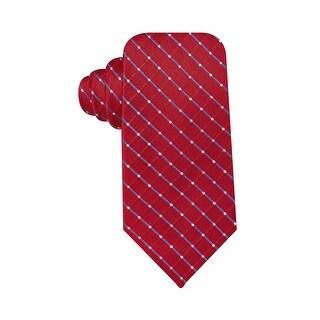 Geoffrey Beene Mens Hand Made Dot Grid Classic Tie Necktie Red - One Size Fits most