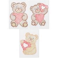 "Fuzzy Bears - Stamped Embroidery Kit Beginner Samplers 6""X8"" 3/Pkg"