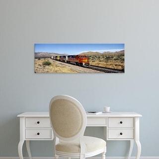 Easy Art Prints Panoramic Images's 'Train on a railroad track, Santa Fe Railroad, Arizona, USA' Premium Canvas Art