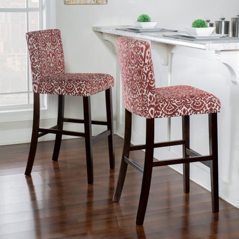 Copper Grove Edinet Damask Print Fabric-upholstered Bar Stool