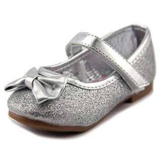 Rugged Bear Glitter Bow Flat Toddler Round Toe Synthetic Silver Ballet Flats