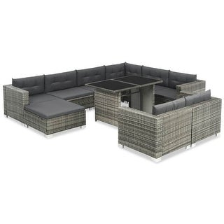 "vidaXL 10 Piece Garden Lounge Set with Cushions Poly Rattan Gray - 42.5"" x 26"" x 27.6"""