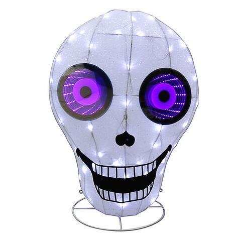 "Puleo International 31"" Lighted Halloween Skull with Infinity Mirror"
