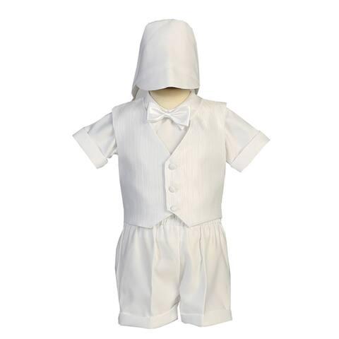 Lito Little Boys White Vest Satin Shorts Elegant Christening Outfit