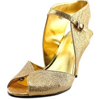 Nine West SAVVY Women  Peep-Toe Leather Gold Heels