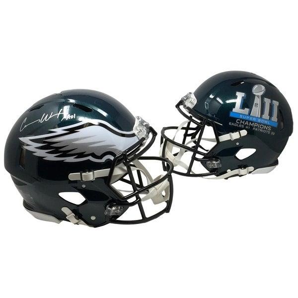 81773b3d136 Carson Wentz Signed Eagles FS Authentic Super Bowl 52 Speed Helmet Fanatics