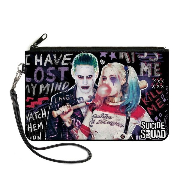 Suicide Squad Joker & Harley Quinn Pose Quote Sketches Black Purples Reds Canvas Zipper Wallet