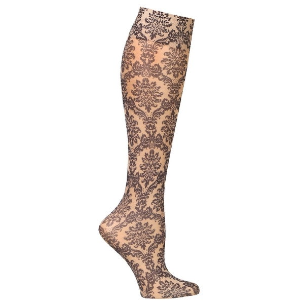 Celeste Stein Mild Compression Knee High Stockings, Wide Calf - Nude Damask - Medium