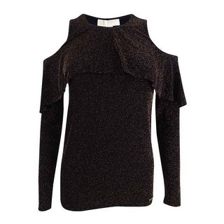 Michael Kors Women's Petite Metallic-Knit Cold-Shoulder Top - Black/gold