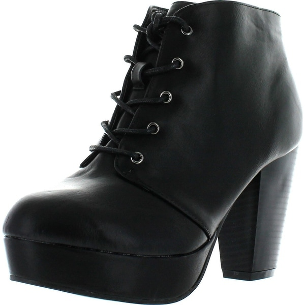 Forever Camille-66 Womens Fashion Chunky Heel Lace Up Ankle Booties - Black