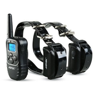 AGPtek Rechargeable Waterproof 2 Dog Training Collar 100 Level Shock Vibra LCD Remote - SIZE