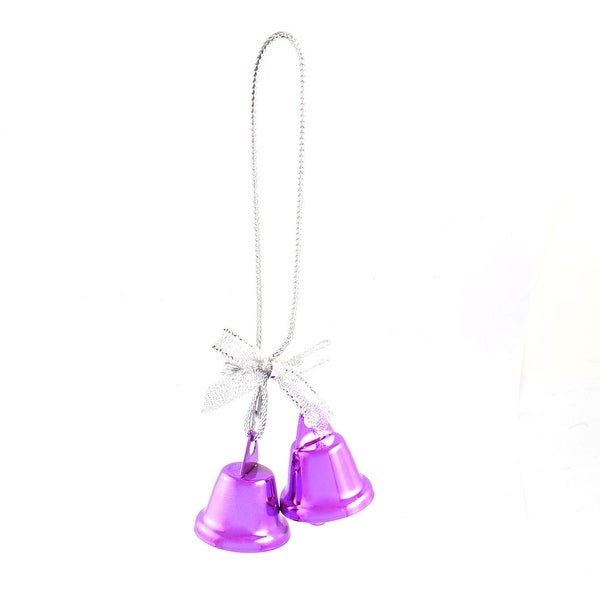 Unique Bargains Bow Detail Fuchsia 27mm Dia Christmas Tree Ring Bell Dangling Ornament