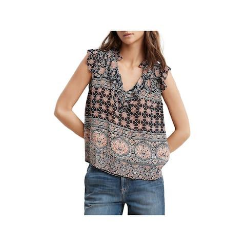 VELVET BY GRAHAM & SPENCER Womens Blouse Ruffled Print - Multi