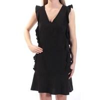 8f4f2b28e18 CECE Womens Black Ruffled Cap Sleeve V Neck Above The Knee Shift Dress Size   2