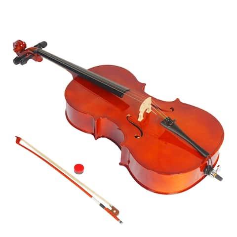 3/4 Acoustic Cello Bag Bow Rosin Natural - 3/4