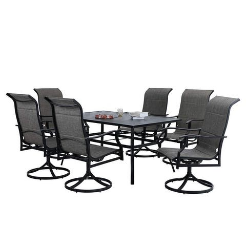 MFSTUDIO 7 Pieces Patio Dining Set, Rectangular Black Metal Table with 6 Padded Textilene Fabric Swivel Chairs