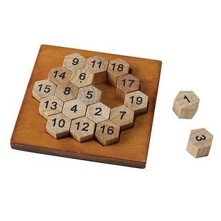 True Genius Lo Shu Square - Aristotle's Number Hexagon Wood Puzzle - Brown