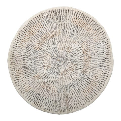 4' Round Cotton Printed Rug with Starburst Design - 4' Round