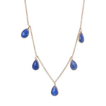 Sterling Silver Blue Sapphire Necklace in 36 inch