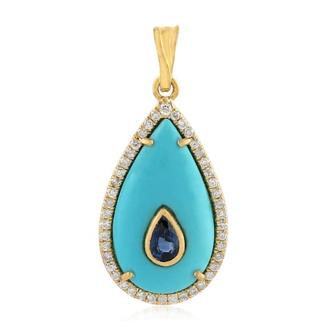 Yellow Gold Diamond Sapphire Turquoise Pendants Gemstone Jewelry
