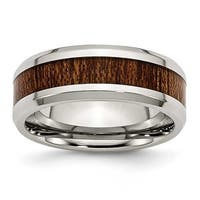 Chisel Stainless Steel Polished Brown Wood Inlay Enameled 7.80mm Ring