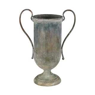 """GuildMaster 2100-017  16-1/2"""" Tall Eared Metal Vase - Naturally Aged"""