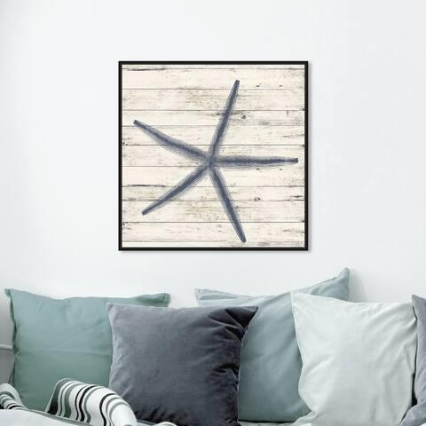 Oliver Gal 'Starfish Blue' Nautical and Coastal Wall Art Framed Canvas Print Marine Life - Blue, White