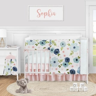 Navy Blue Pink Watercolor Floral Collection Girl 5pc Nursery Crib Bedding Set - Green White Shabby Chic Rose Flower Polka Dot