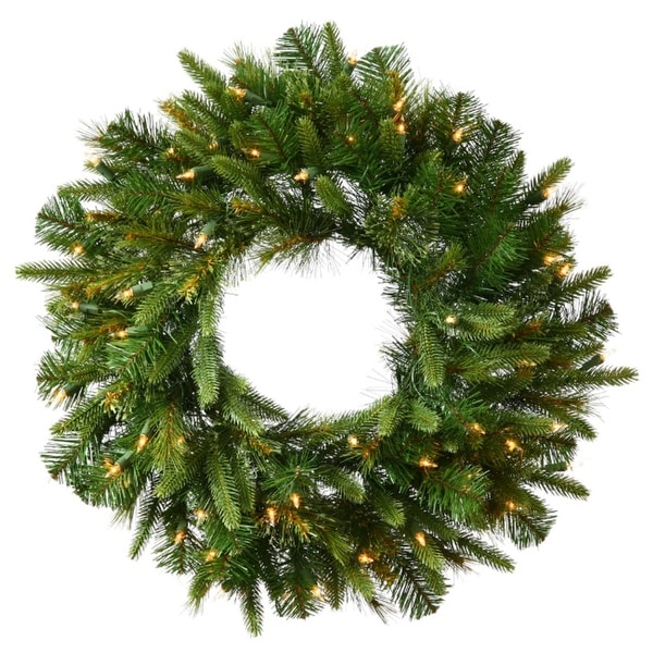 "24"" Pre-Lit Mixed Cashmere Pine Artificial Christmas Wreath - Warm Clear LED Lights - green"