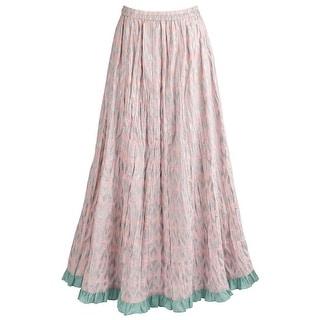 """Women's Dusty Pink Ikat Broomskirt - Elastic Waistband - 38"""" Long Maxi Skirt (Option: 3x)"""
