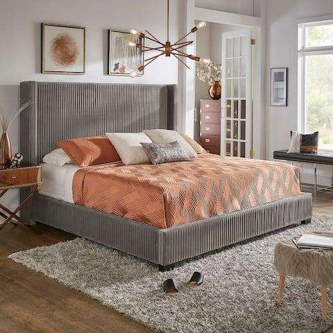 Jules Pleated Velvet Wingback Bed by iNSPIRE Q Modern