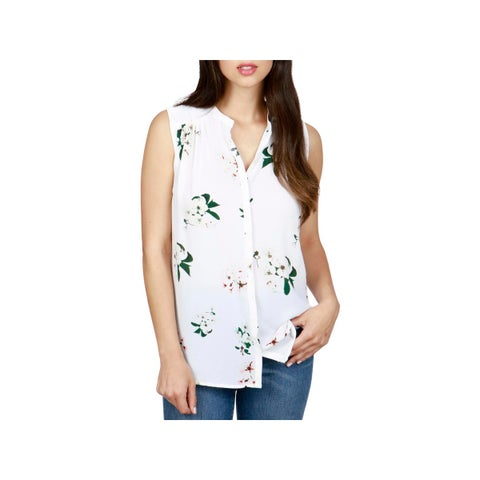 Lucky Brand Womens Button-Down Top Sleeveless Floral Print