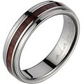 Titanium Wedding Band With Koa Wood Inlay & Step Edges 6 mm - Thumbnail 0