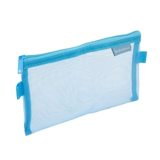 Unique Bargains Zip up Nylon Mesh Pen Writing Instruments Stationary Holder Case Bag Blue