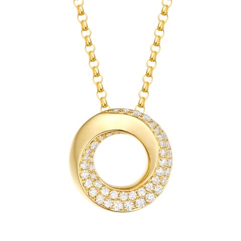 Vedantti 0.40Ct Round G-H/VVS1 Natural Diamond Open-Circel Bold Everyday Wear Pendant - White