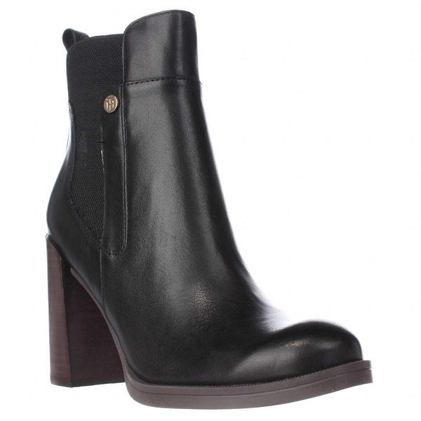 Tommy Hilfiger Britton Block Heel Ankle Boots, Black Multi