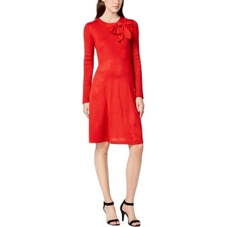 Jessica Howard Womens Sweaterdress Ribbed Trim Fit & Flare