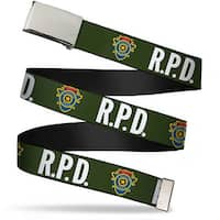 Blank Chrome Buckle Rpd Raccoon Police Detective Badge Olive White Web Belt