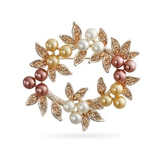 Bling Jewelry Imitation Pearl Christmas Wreath Bridal Brooch Pin Rose Gold Plated
