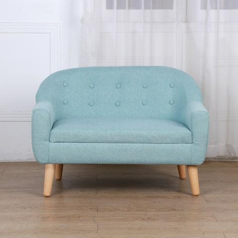 Qaba Kids Sofa Linen Fabric Wooden 2 Seat Armrest Children Chair Cozy
