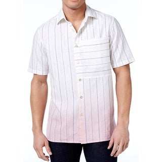 Sean John White Mens Small S Button Down Dip Dye Pin Stripe Shirt